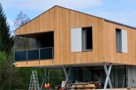 Bauweise CLT (Massivholzwand)